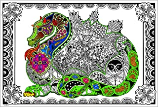 Stuff2Color Dragon - Giant 22 X 32.5 Inch Line Art Coloring Poster (Great for Family Time, Adults, Kids, Classrooms, Care Facilities and Group Activities)