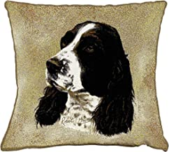 Pure Country Weavers - English Springer Spaniel Textured Hand Finished Elegant Woven Throw Pillow Cover 100% Cotton Made in The USA Size 17x17