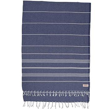 Bersuse 100% Cotton - Anatolia XL Throw Blanket Turkish Towel Pestemal - Bath Beach Fouta Peshtemal - Multipurpose Bed or Couch Throw, Table Cover or Picnic Mat - Striped - 61X82 Inches, Dark Blue