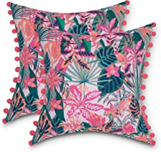 Vera Bradley by Classic Accessories Water-Resistant Accent Pillow with Poms, 18 x 18 x 8 Inch, 2 Pack, Rain Forest Canopy ...