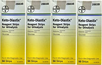 Bayer Keto-Diastix Reagent Strips for Urinalysis, 50 Each (Pack of 4)