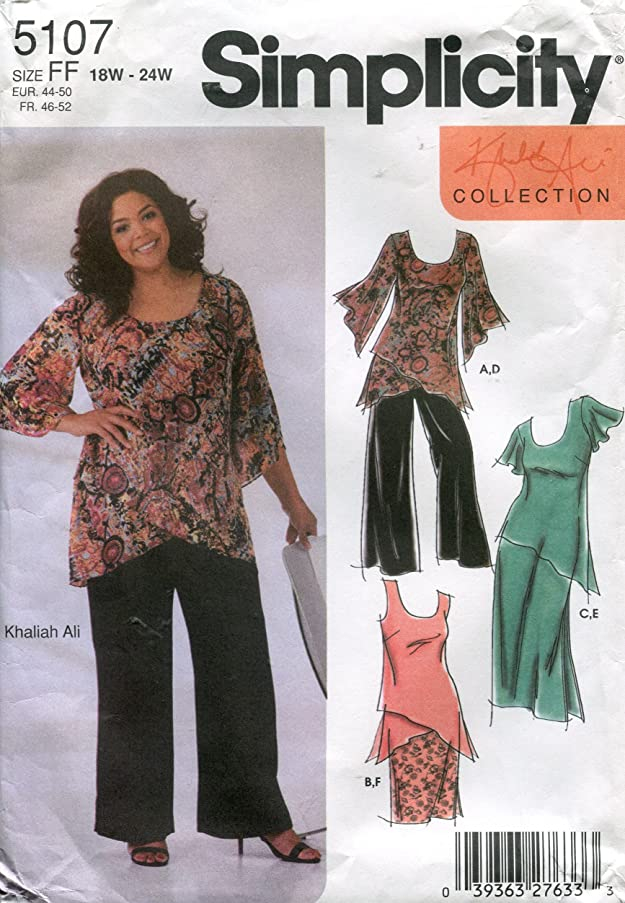 Simplicity Pattern 5107 Khaliah Ali Women's/Women's Petite Pullover Top and Pull-on Skirt in Two Lengths and Pants, FF (18W-24W)