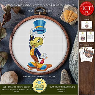 Jiminy Cricket #K265 Embroidery Kit | Cross Stitch Kits | Disney Cross Stitch World | Needlepoint Kits | Counted Cross Stitch | Stitch Patterns