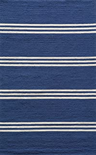 Momeni Rugs Veranda Collection, Contemporary Indoor & Outdoor Area Rug, Easy to Clean, UV protected & Fade Resistant, 5' x 8', Maritime Blue