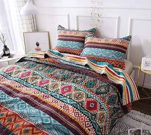DaDa Bedding Southwestern Aztec Bedspread Bohemian Desert Tribal Quilted Set Bright Vibrant Multi Colorful Diamond Twin 2 Pieces
