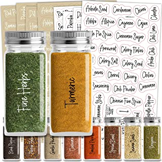 Talented Kitchen 200 Script Spice Label Combo – 200 Black & White Preprinted Labels: Most Common Spice Names in 2 Letter C...