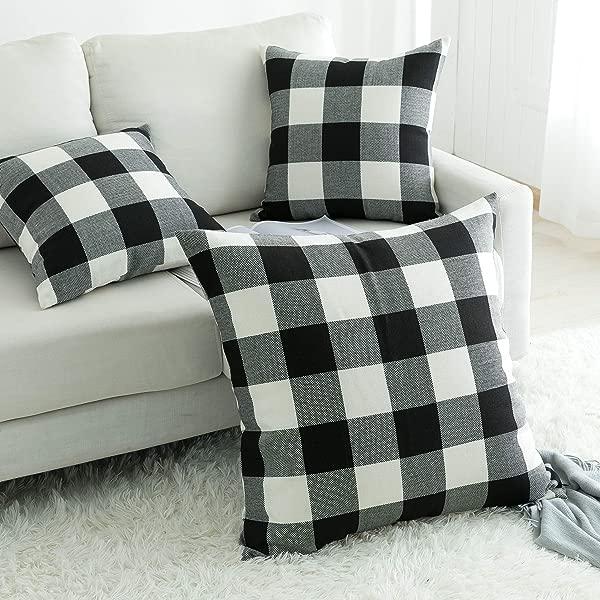 UGASA Classic Retro Checkers Plaids Cotton Linen Soft Soild Decorative Square Throw Pillow Covers Home Decor Design Cushion Case For Sofa Bedroom 26 X26 Inch Black White