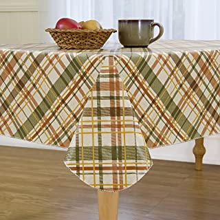 """Elrene Home Fashions Vinyl Tablecloth with Polyester Flannel Backing Harvest Fall Plaid Easy Care Spillproof, 52""""X52"""""""