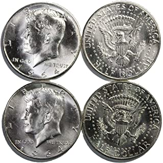 1964 P and D Kennedy Silver Half Dollar Hand Picked Lot of (2) Two .50c Gem BU