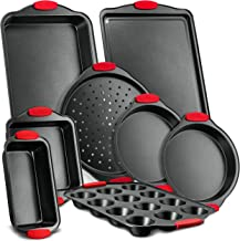 Nutrichef 8-Piece Carbon Steel Nonstick Bakeware Baking Tray Set w/Heat Red Silicone Handles, Oven Safe Up to 450°F, Black