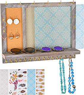 Klesis Shoppe Wall Mounted Jewelry Organizer with Shelf, Jewelry Hanging Organizer, 20 Large Hooks for Necklaces, 6 Bracelet Holders, Stud Earring Board & Changeable Backgrounds, Rustic Jewelry Rack