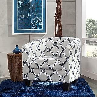 Grafton Barrel Accent Chair One Size Blue Quatrefoil