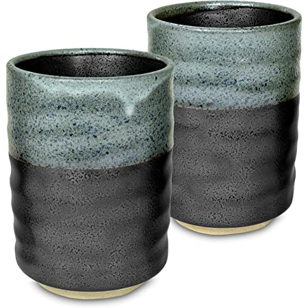 fait main for Loose Tea Grand bleu Ridged Japanese yunomi tea cup