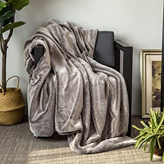 Sofila Faux Fur Throw Blanket Luxurious, Super Soft Cozy Warm for Sofa Couch Bed Home Decorative, Gray, 60' x 80'