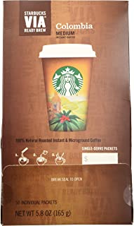 Starbucks VIA Ready Brew Coffee, Colombia, 3.3-Gram Packages,50 Count (packaging may vary)