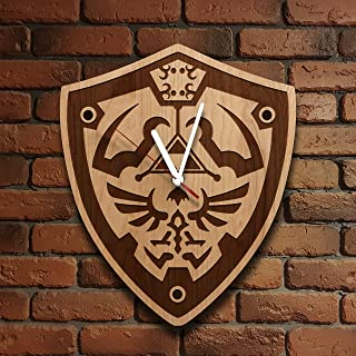 The Legend of Zelda Wooden Wall Clock Wood clock design Link Shield Perfect gift and Beautiful Art Decorate your Home with MODERN Style UNIQUE GIFT idea for Him and Her (12 inches)