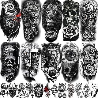 COKTAK 22 Sheets 3D Forearm Half Sleeve Temporary Tattoos For Men Women Adults, Large Tribal Lion Warrior Tiger Wolf Flowe...