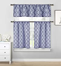 Home Maison - Luke Geometric Linen Textured Kitchen Tier & Valance Set | Small Window Curtain for Cafe, Bath, Laundry, Bed...