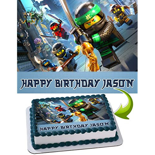 LEGO NINJAGO Personalized Cake Toppers Icing Sugar Paper A4 Sheet Edible Frosting Photo Birthday Topper