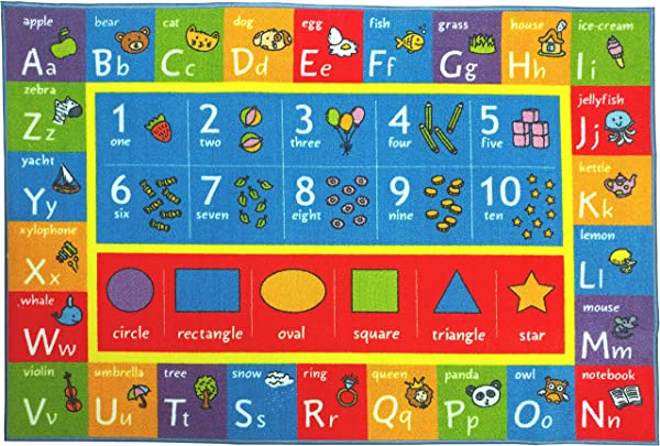Kev Cooper KCP010003 8x10 Playtime Collection ABC Numbers And Shapes Educational Area Rug 8 2 X 9 10