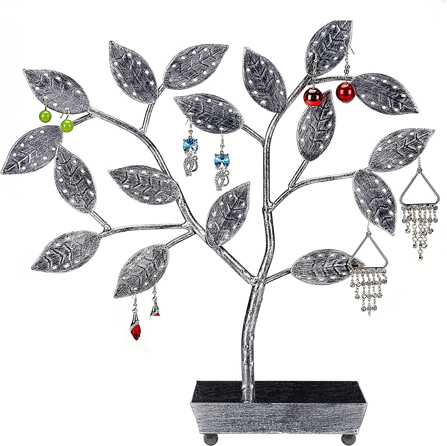 MyGift Jewelry Tree, Earring Necklace Hanger Holder with Ring Dish Tray, Silver