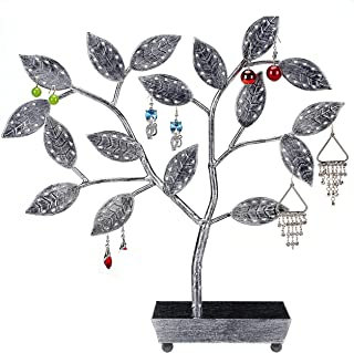 Tree Design Jewelry Hanger Earring Necklace Holder with Ring Dish Tray Silver