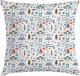 Lunarable Camping Throw Pillow Cushion Cover, Spending Time in The Nature Pattern Wildlands Activities Trekker with Sleeping Bag, Decorative Square Accent Pillow Case, 20