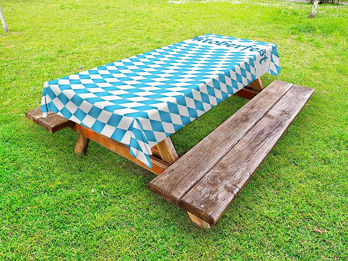 Lunarable Oktoberfest Outdoor Tablecloth, Oktoberfest Celebrating Traditional Holiday Ribbon on Checkered Background, Decorative Washable Picnic Table Cloth, 58 X 84 Inches, Blue White