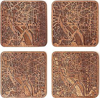 Washington D.C. Map Coaster by O3 Design Studio, Set Of 4, Sapele Wooden Coaster With City Map, Handmade