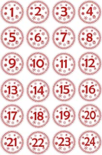 INDIGOS UG - Advent Calendar Numbers Stickers 1 to 24 - white - red Vintage - Labels - Sticker - Christmas Calendar - Advent - Round - DIY - to stick on