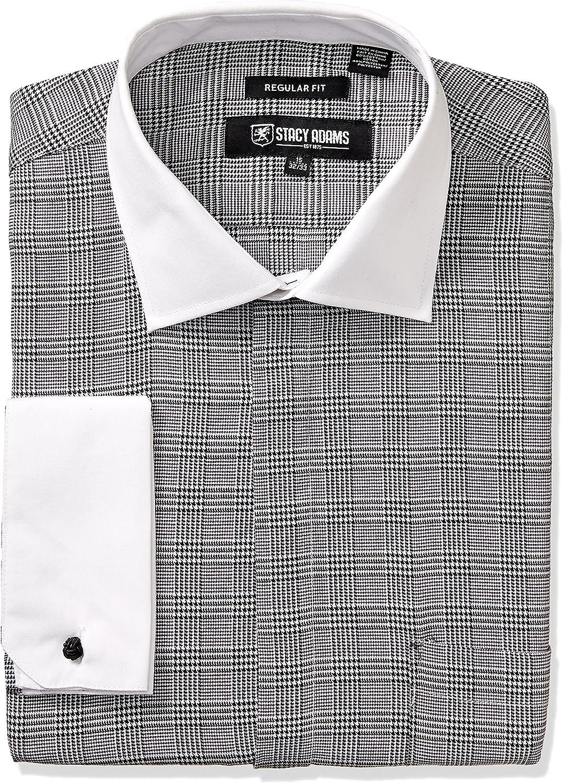 STACY ADAMS Men's Large Glen Check Classic Fit Dress Shirt