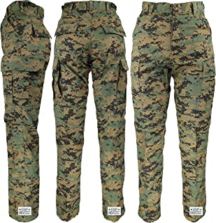 Mens Woodland Digital Camo Poly/Cotton Military BDU Army Fatigues Cargo Pants with Pin