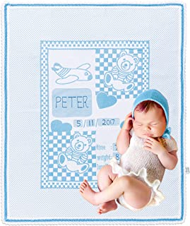 Chiara Rose Milestone Newborn Baby Blanket Personalized Photography Background First Day Toddler Blanket Teddy Bear Blue