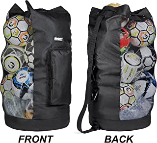 Heavy Duty XL Soccer Mesh Equipment Ball Bag w/Adjustable Shoulder Strap Design for Coach. with an Over-Sized Front Pocket for Sporting Accessories. Best for All Outdoor & Water Gears