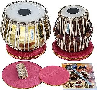 Tabla Set by Maharaja Musicals, Golden Brass Bayan 3Kg, Sheesham Dayan Tabla, Nylon Bag, Hammer, Book, Cushions, Cover, Tabla Indian Drums (PDI-CH)