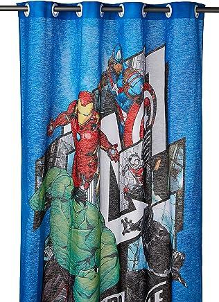 Cortina com Ilhós Lepper Avengers Azul, 1,5x1,8 m, Pacote de 1 Algodão Tradicional