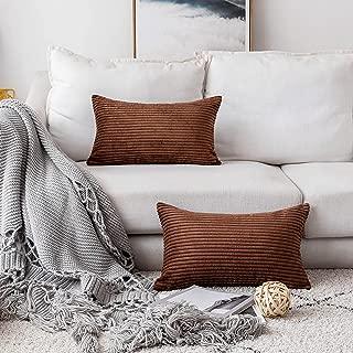 Home Brilliant Plush Striped Corduroy Velvet Rectangular Throw Pillow Case Cushion Cover for Chair, 30 x 50cm, Set of 2, Coffee Brown