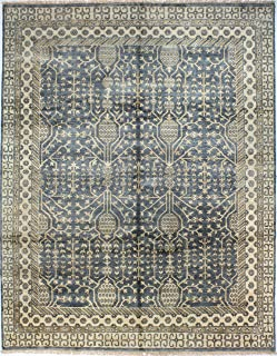 Bashian Vintage Collection HSA117 Hand Knotted 100% Wool Area Rug, 8.9' x 11.9', Slate