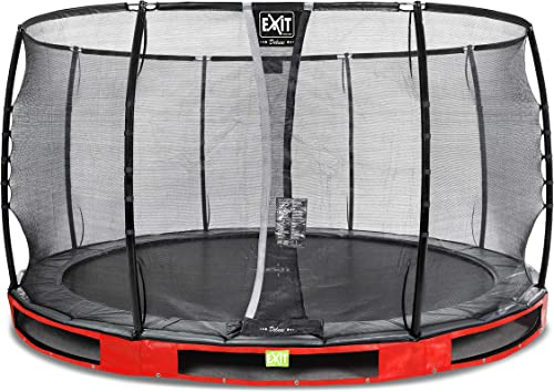 EXIT Elegant InGründ-Trampolin  cm mit Deluxe Sicherheitsnetz - rot