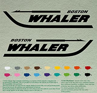 "Pair 24"" BOSTON WHALER DecalsBlack Vinyl Stickers Boat Outboard Motor lot of 2"