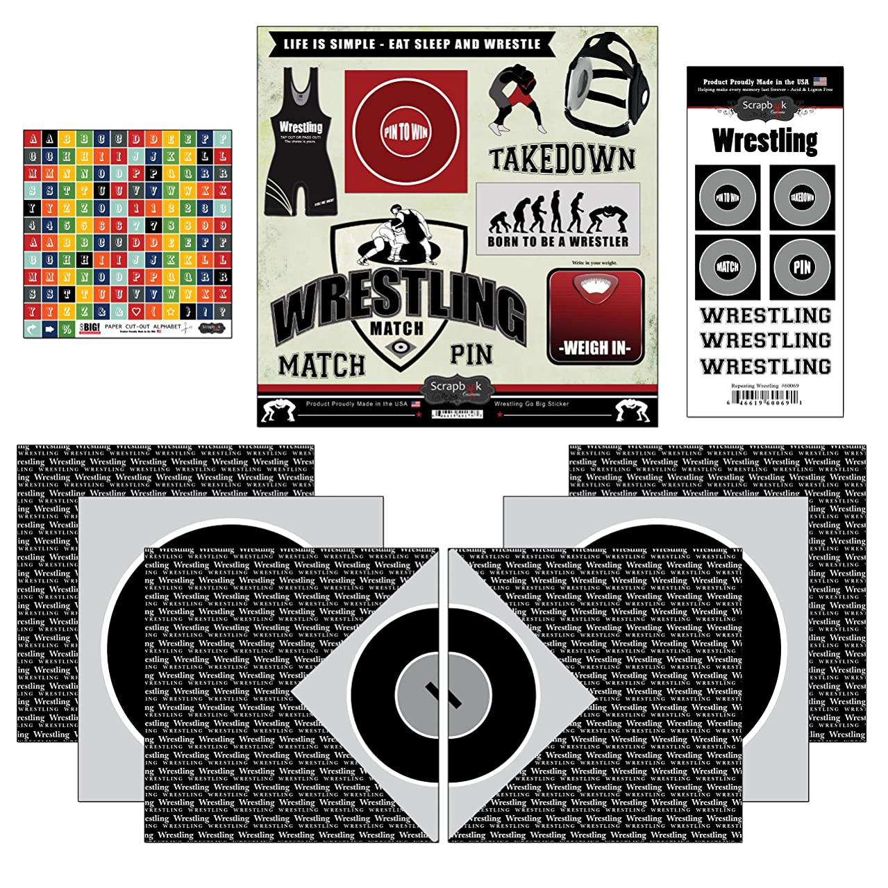 Scrapbook Customs Go Big Wrestling Themed Paper and Stickers Scrapbook Kit
