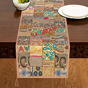 Flyingasedgle Rajasthani Handmade Table Runner Indian Design Embroided Cotton Ethnic Runner Indian Patchwork Table and Home Decor for Every Occasion (60X16) (Beige)
