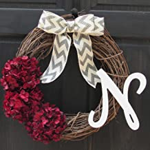 Burgundy Red Hydrangea Grapevine Wreath for Year Round Fall Christmas Front Door Decor; Optional Monogram