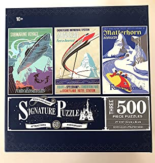 Disney Disneyland 60th Set of 3 500 Piece Puzzles Puzzle Attraction Poster