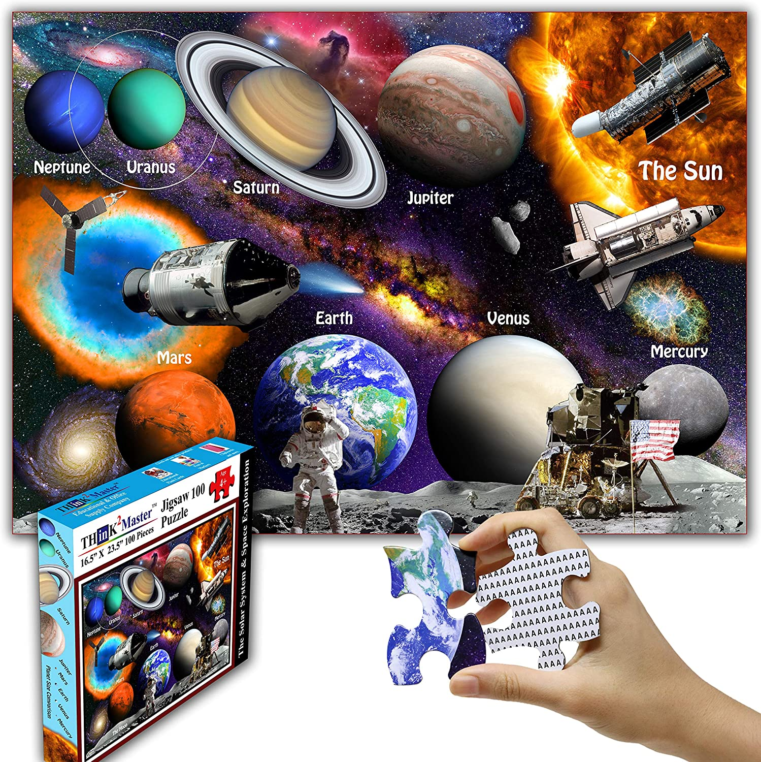 Think2Master Max 90% OFF Solar System Space Jigsaw Pieces 100 Exploration Max 82% OFF