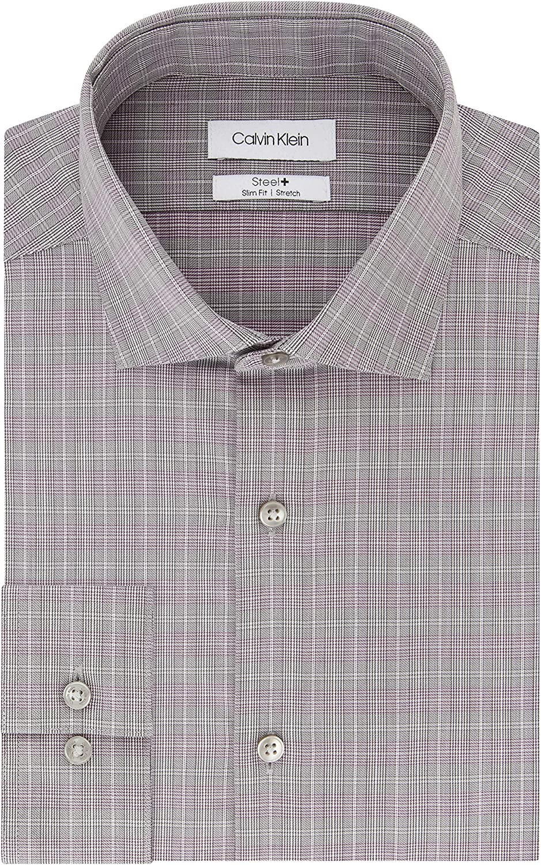 40% OFF Cheap Sale Calvin Klein Men's Dress unisex Shirt Slim Check Stretch Iron Fit Non