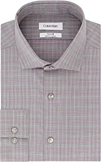 Men's Dress Shirt Slim Fit Non Iron Stretch Check