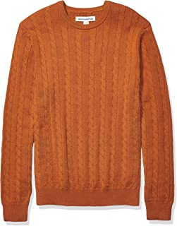 Amazon Essentials Men's Crewneck Cable Cotton Sweater