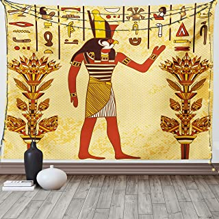 Ambesonne Ethnic Tapestry, Ancient Egyptian Hieroglyph with Pharaoh Retro Myth Papyrus Graphic, Wall Hanging for Bedroom L...