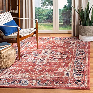 Safavieh CHL411Q-8 Charleston Collection CHL411Q Red and Ivory (8' x 10') Area Rug,